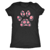 SWEET FLORAL PUPPY PAW PRINT - TRIBLEND T-SHIRT - PLUS SIZE TEE S-2XL MADE IN THE USA BY MODEL PAWS