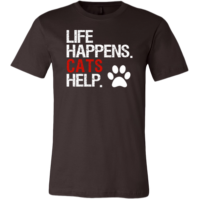 LIFE HAPPENS. CATS HELP PAW PRINT UNISEX STYLE T-SHIRT SIZES S-3XL