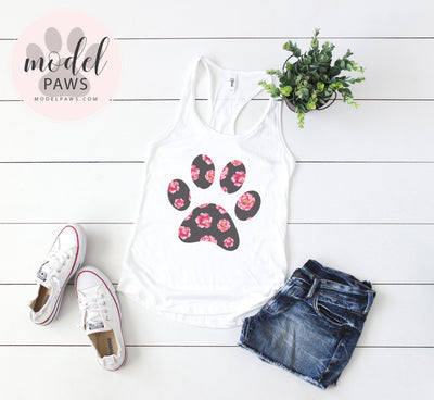 SWEET FLORAL PUPPY PAW PRINT - LADIES RACERBACK TANK TOP WOMEN - PLUS SIZE XS-2XL - MADE IN THE USA BY MODEL PAWS