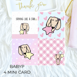 BabyP set 4 mini card - star