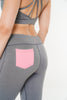 Isla Leggings in grey with pink back pocket detail by Melany K London