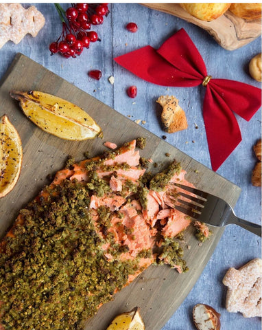 Chestnut crusted Salmon Christmas Day Dinner Meal Alternatives