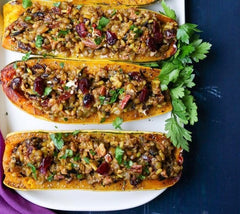 Lentil and Cranberry Stuffed Butternut Squash Christmas Day meal