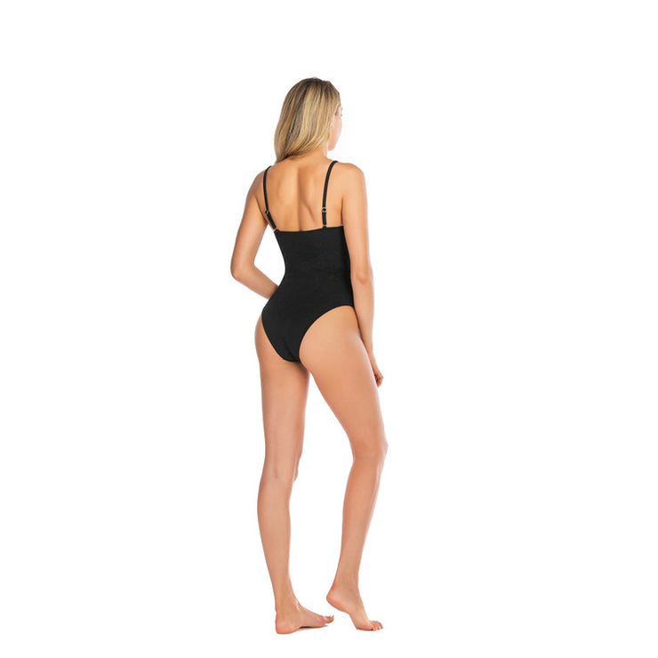 Black Riviera Belted Womens Swimsuit