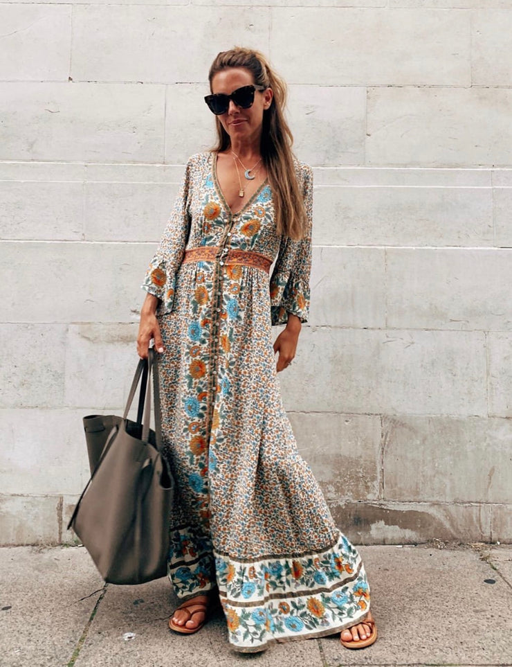 Beige Floral Style Maxi Dress