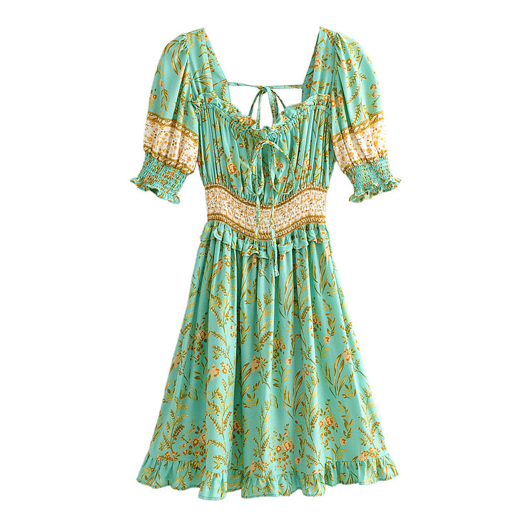 Mint Green Smocked Floral Print Boho Dress
