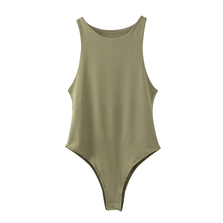 Womens Racer Sleeveless Bodysuit