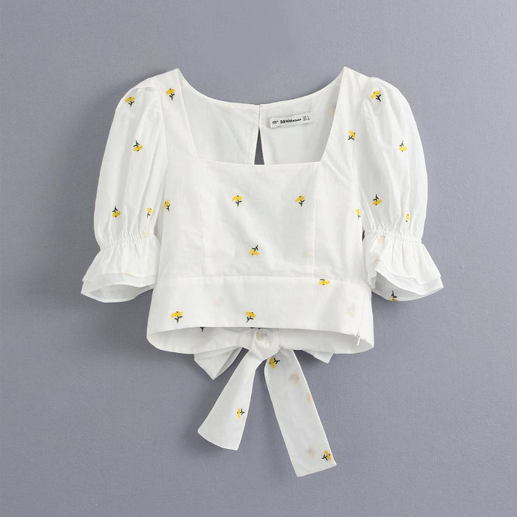 Embroidered Daisy Crop Top