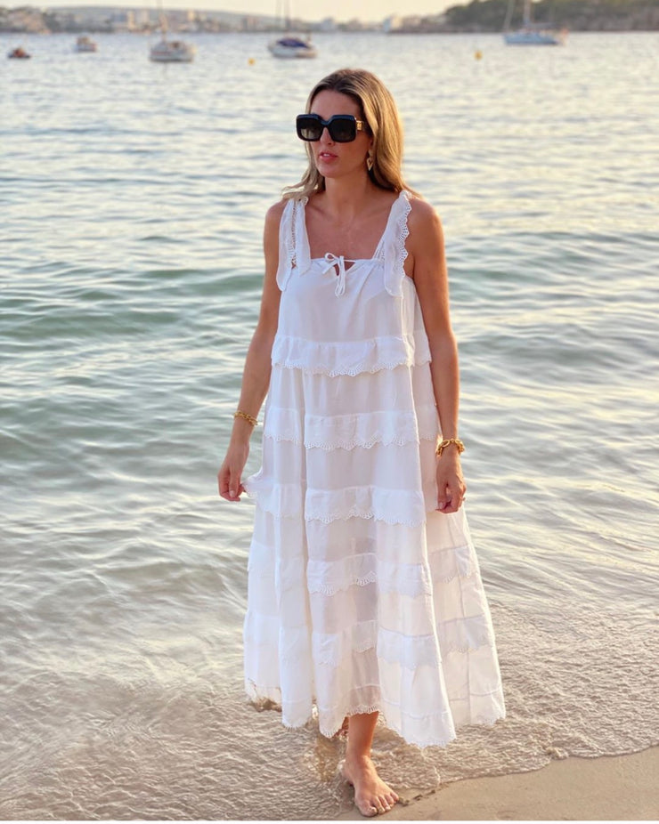 Riviera White  Tier Dress