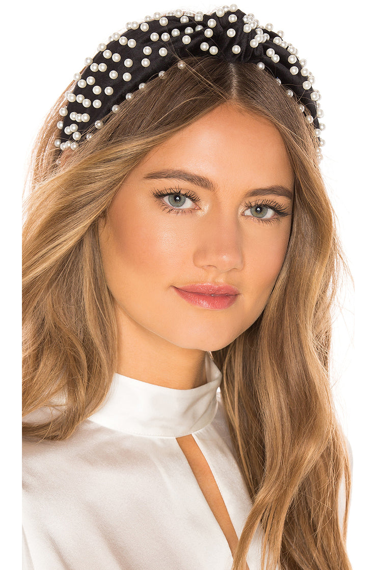 Pearl Studded Satin Headband Black