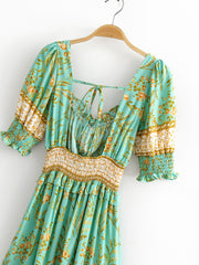 Mint Bella Smocked Floral Print Boho Dress