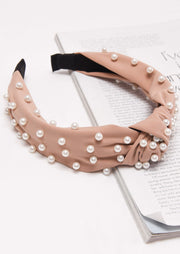 Pearl Studded Satin Turban Headband Nude