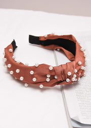 Pearl studded Satin Turban Headband Burnt Orange