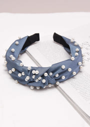 Pearl Studded Satin Turban Headband Blue