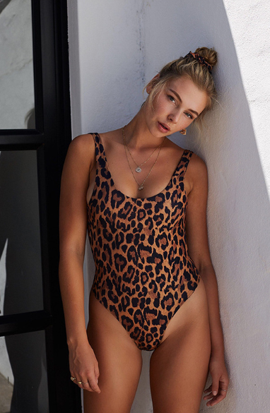 Leopard Print High-Cut Swimsuit