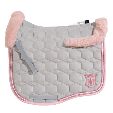 Mattes Silver & Rose Velvet Dressage Saddle Pad - TOP FLEECE