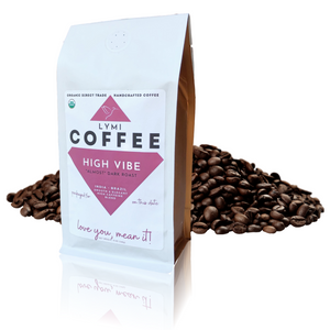 HIGH VIBE Organic, Direct Trade, 'Almost' Dark Roast – 12oz Ground or Whole Bean Coffee