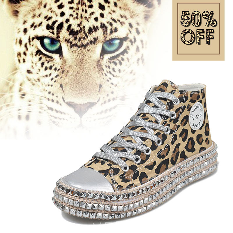 Women's Fashion High-Top Studded Leopard Canvas Shoes
