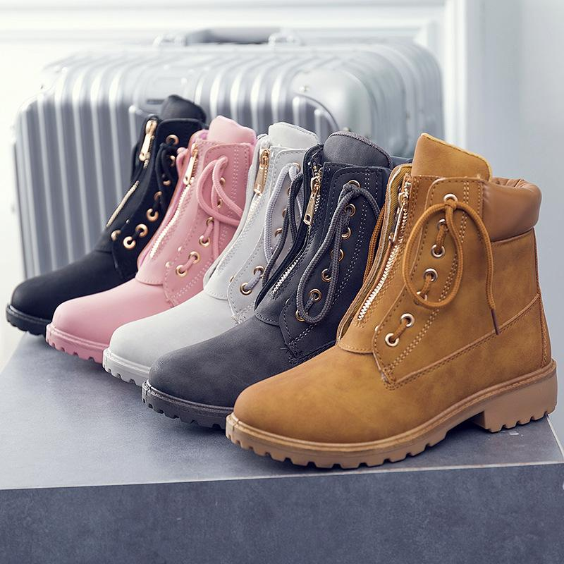 Women's Removable Zipper Lace Up Boots