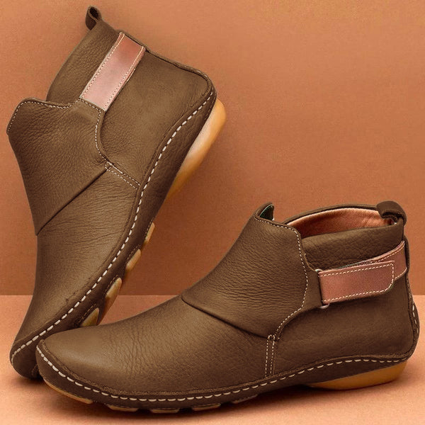 Women Casual Comfy Daily Adjustable Soft Leather Booties