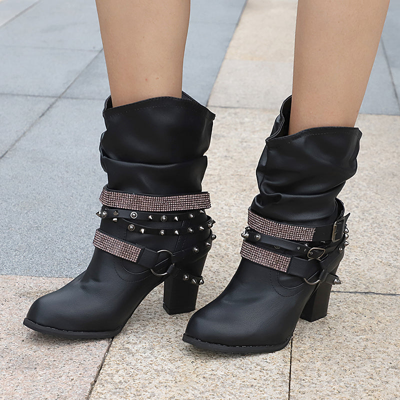 Women's Fashion Belt Buckled Round Toe Boots