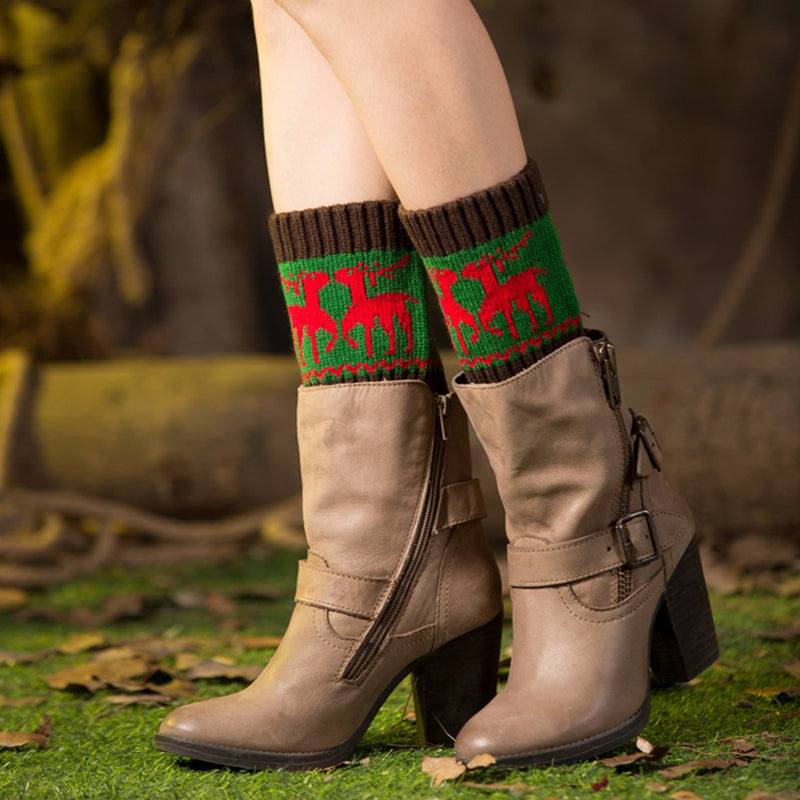 Ladies Christmas Woven Color Matching Socks
