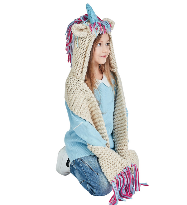 Crochet Knitted Unicorn Hooded Scarf with Pockets Winter Windproof