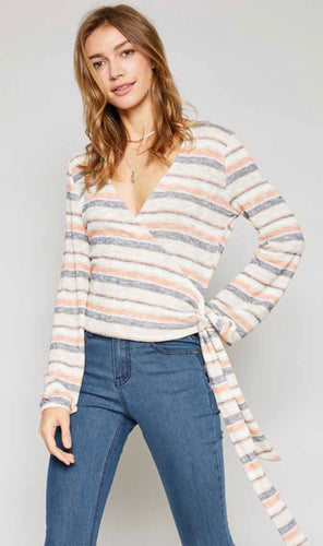AMARA STRIPE KNIT WRAP TOP