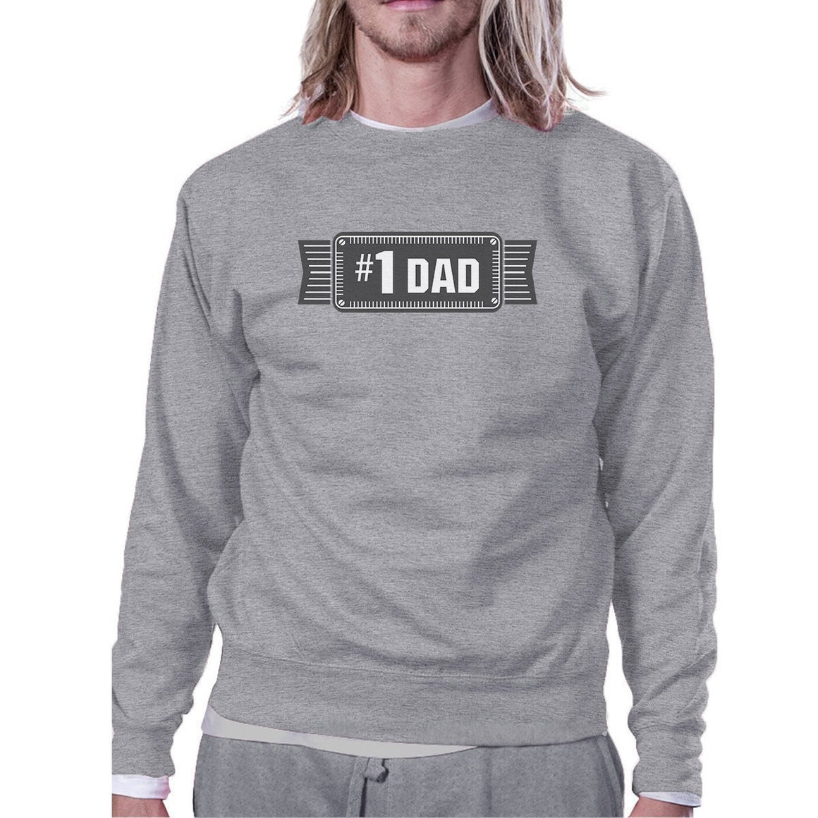 #1 Dad Unisex Grey Pullover Sweatshirt Funny Holiday Gifts For Dad