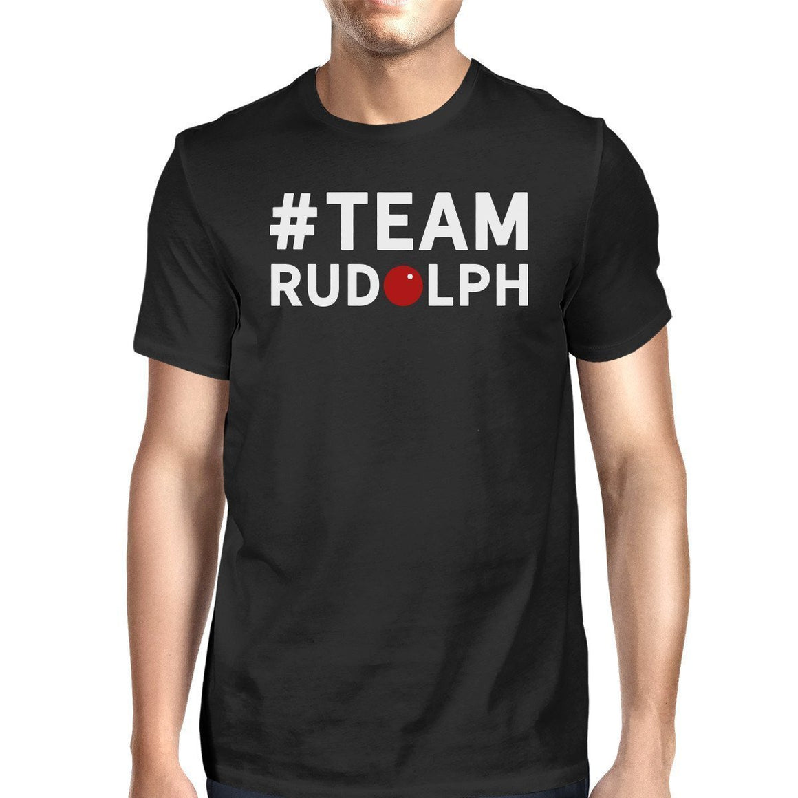#Team Rudolf Black Men's T-shirt Family Group Member Matching Tee