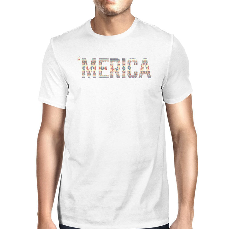 'Merica Mens White T-Shirt Unique Graphic Tee For Fourth Of July