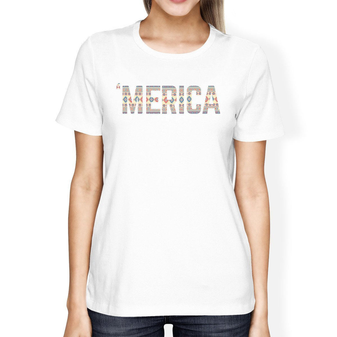'Merica Womens White T-Shirt Unique Graphic Tee For Fourth Of July
