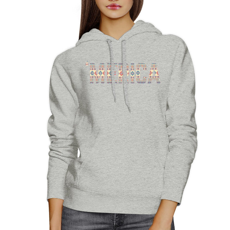'Merica Unisex White Graphic Hoodie Cute Tribal Pattern Design