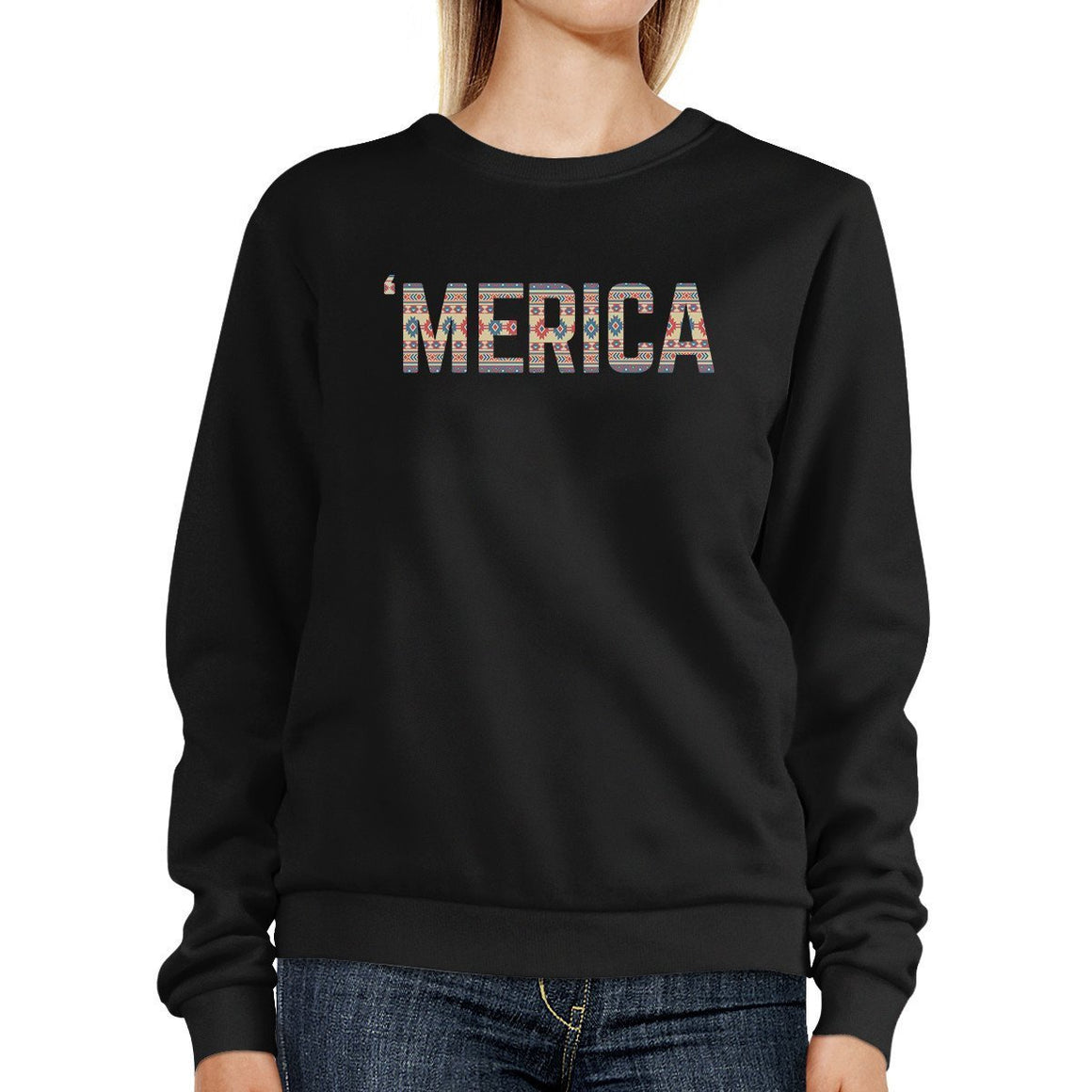 'Merica Unique Tribal Pattern Pullover Sweatshirt For 4th Of July