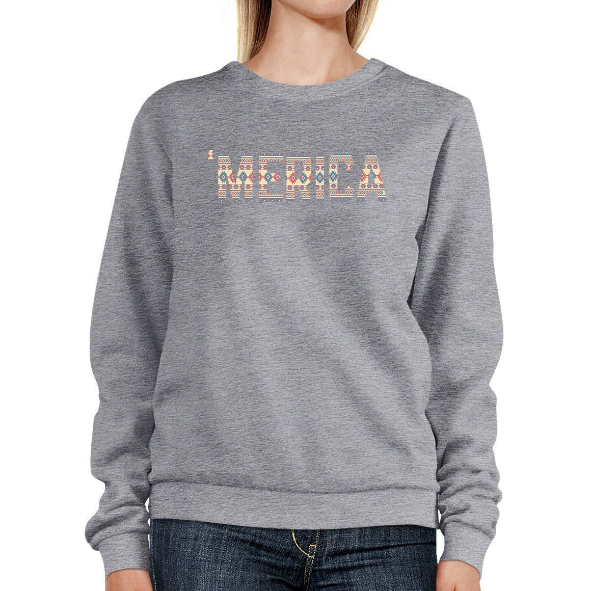 'Merica Cute Tribal Pattern Sweatshirt Round Neck Trendy Design Top
