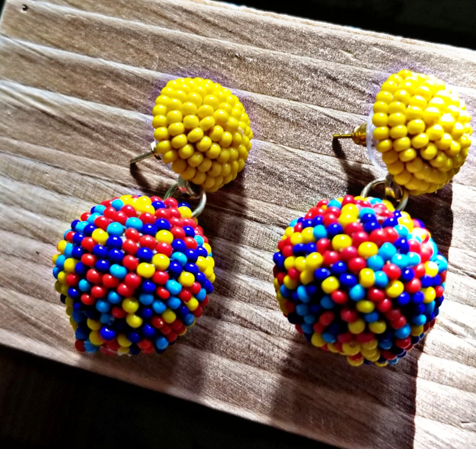 Seed Beaded Ball Drop Earrings