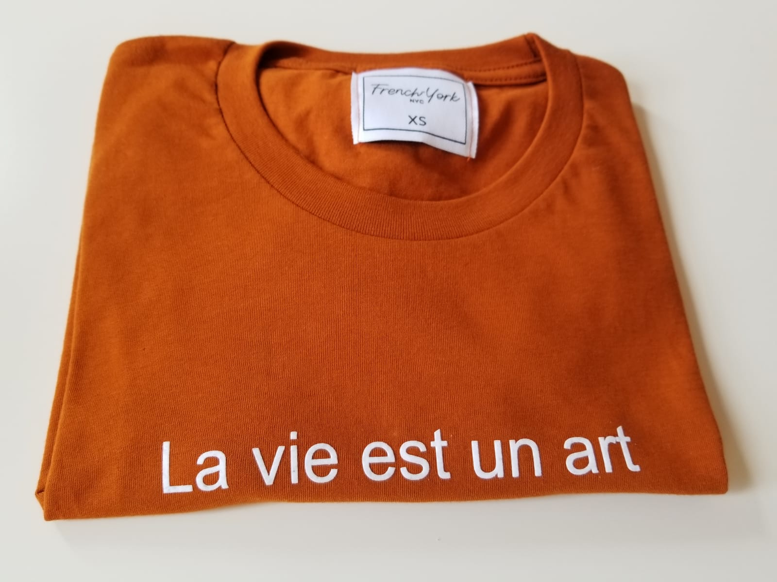 Men unisex T-shirt La vie est un art pumpkin