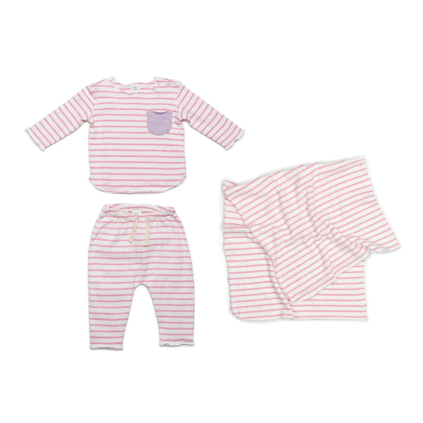 Pink Stripe New Baby Gift Bundle