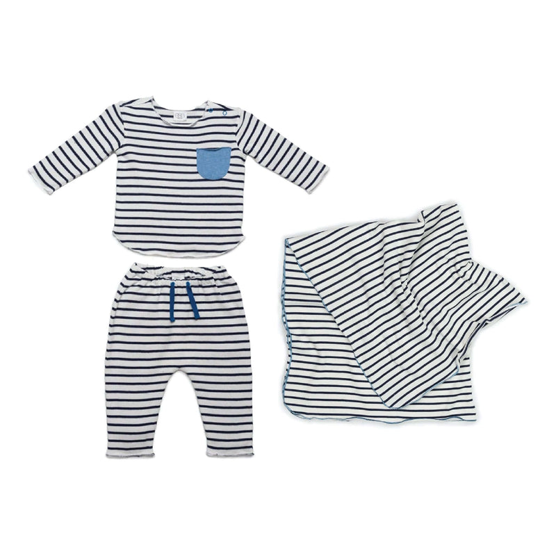 Blue Stripe New Baby Gift Bundle