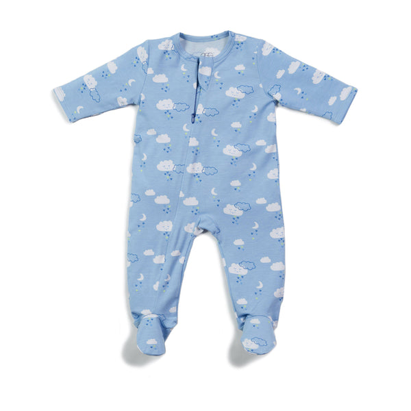Cloud Print Classic Zipper Footie