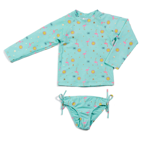 Aqua Flamingo Kaitlyn Long Sleeve Rashguard Two Piece