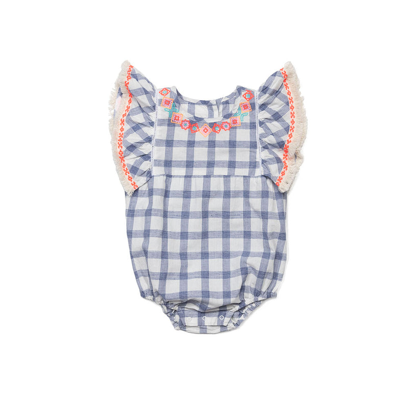 Embroidered Check Remy Romper