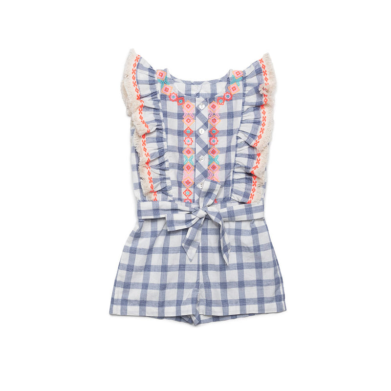 Embroidered Check Matilda Romper