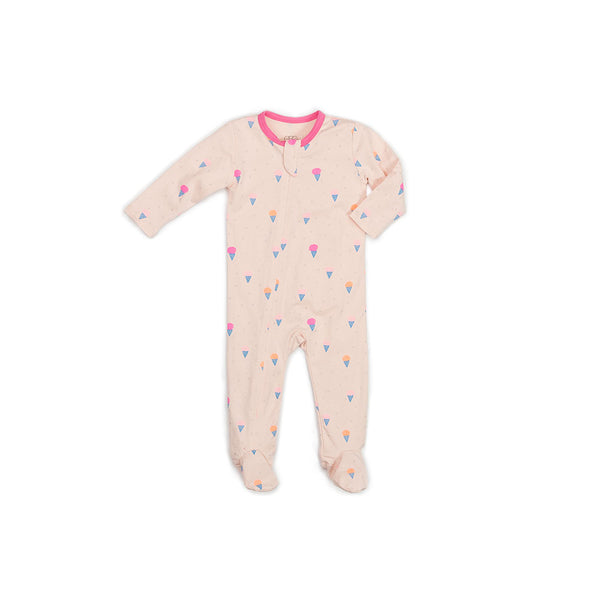 Ice Cream Print Classic Zipper Footie