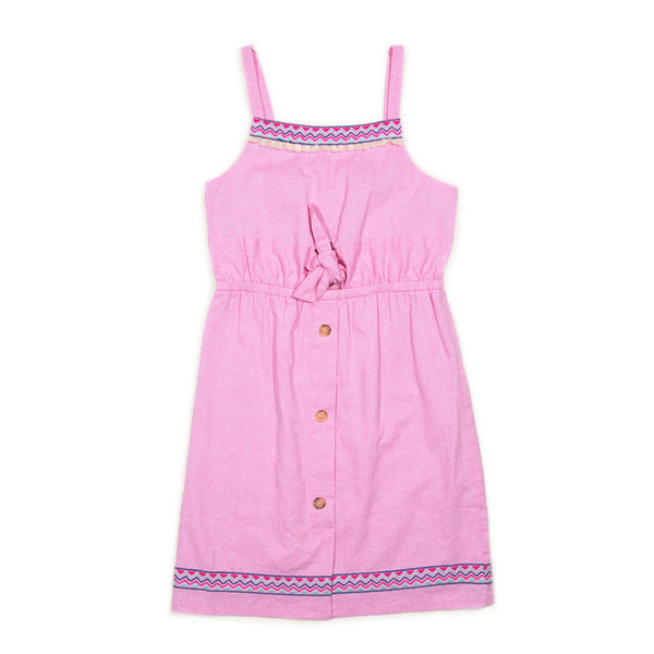 Embroidered Pink Chambray Samantha Dress