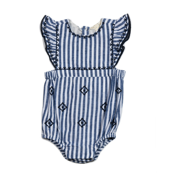 Stripe Embroidered Gabriella Romper