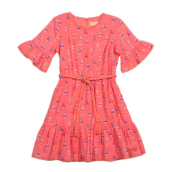 Coral Sailboat Annalise Dress