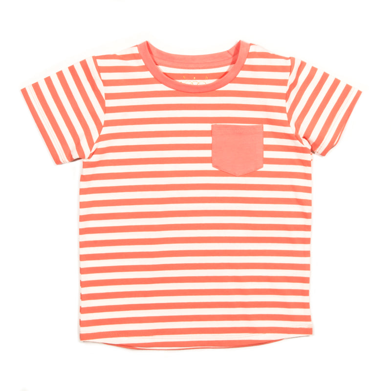 Coral Striped Brooke Tee