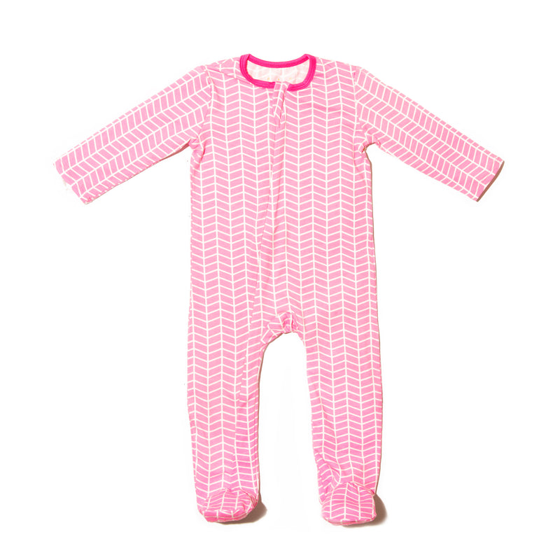 Pink Chevron Zipper Footie
