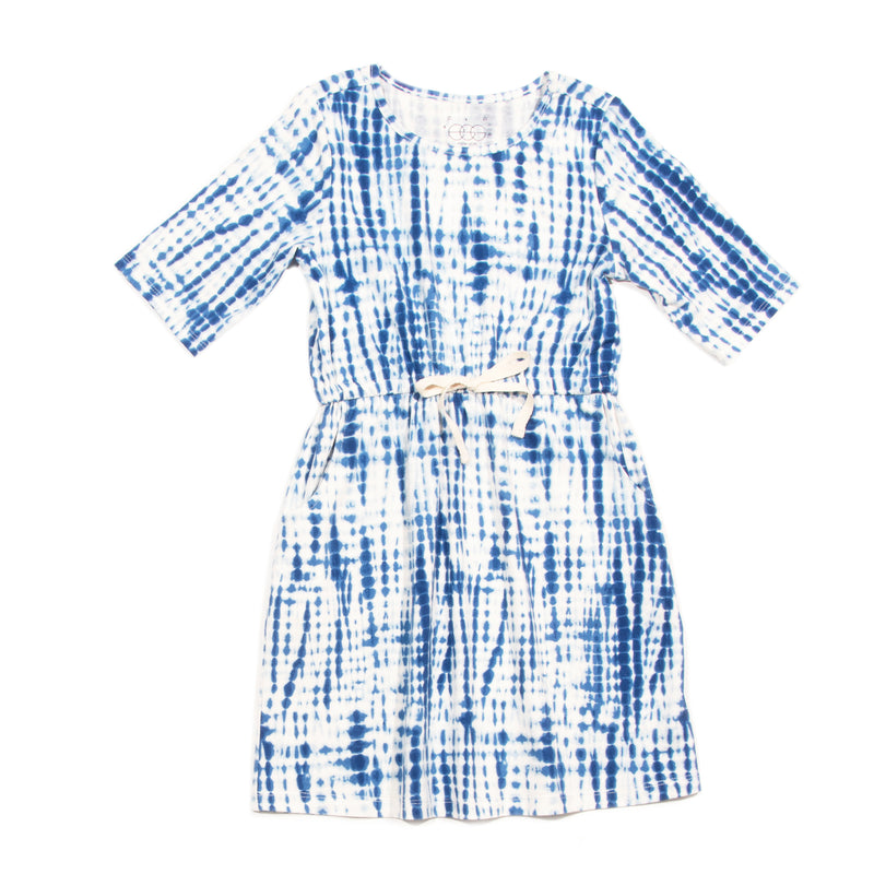 Shibori Tie Dye Navy Sage Dress